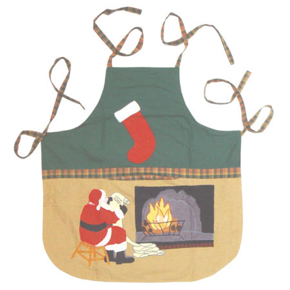 """Santa by the Fireside Apron 27""""W x 29""""L"""