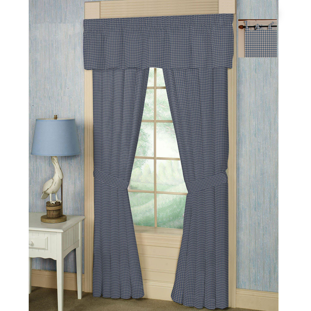 "Blue & ecru gingam checks bed curtain 40""w x 84""l"