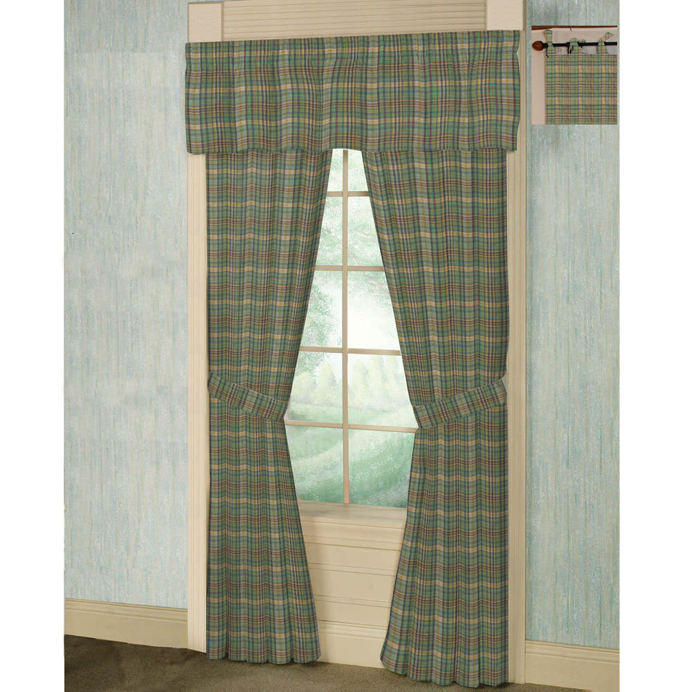 "Green yellow plaid bed curtain 40""w x 84""l"