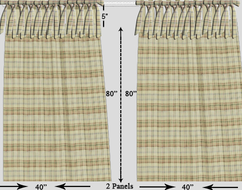 "Cream plaid,bed curtain 40""w x 84""l"