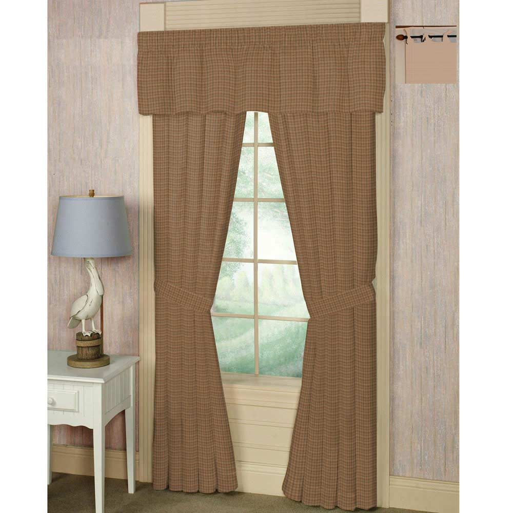 "Brown light checks,bed curtain 40""w x 84""l"