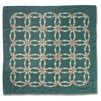 """Green Double Wedding Ring Shower Curtain 72""""W x 72""""L"""
