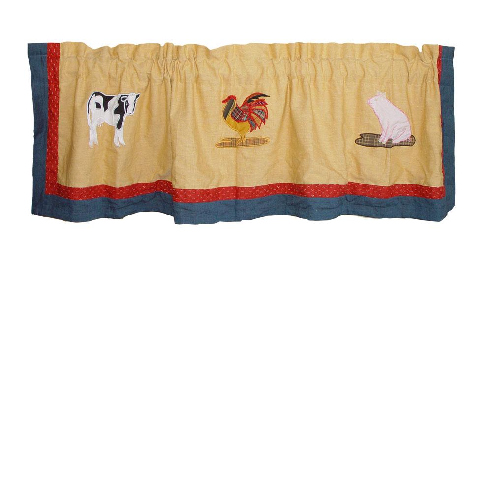 "Barnyard Animals Curtain Valance 54""W x 16""L"