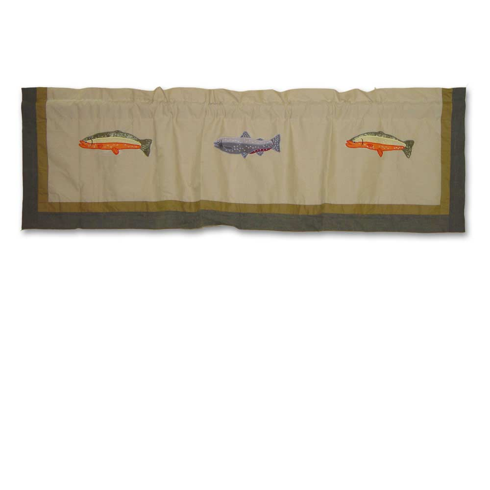 "Fly Fishing Curtain Valance 54""W x 16""L"