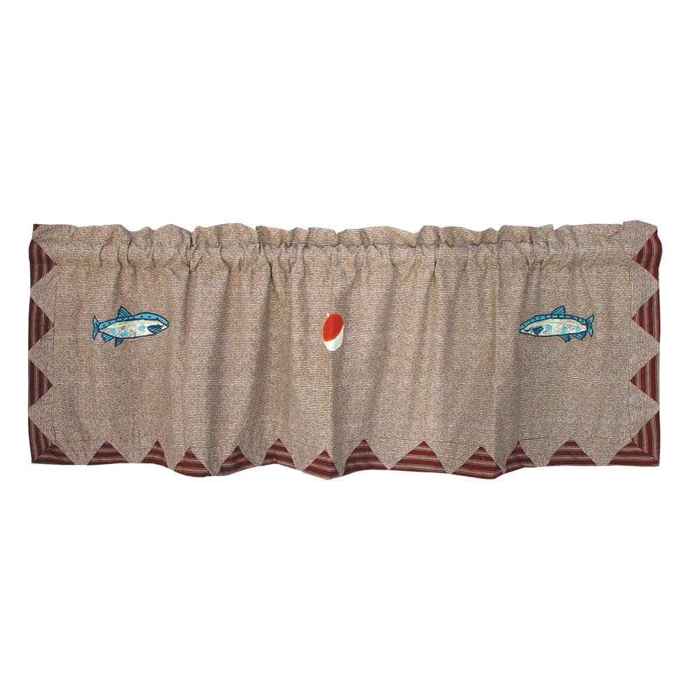 "Gone Fishing Curtain Valance 54""W x 16""L"