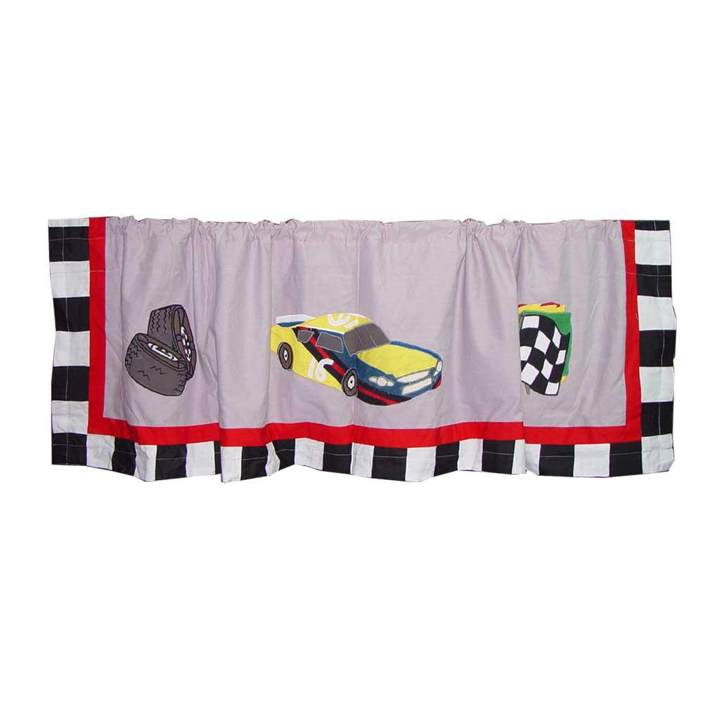 "Racecar Curtain Valance 54""W x 16""L"
