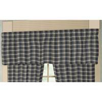 """Blue Black Grey Plaid Curtain Valance 54""""W x 16""""L"""
