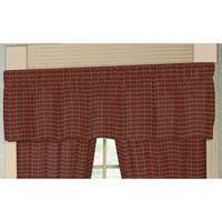 "Rustic Red Large Check Curtain Valance 54""W x 16""L"