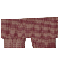 "Mulberry and Ecru Line Plaid curtain valance54""w x 16""l"