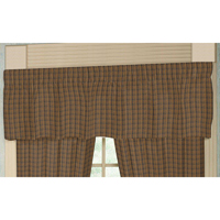 "Dark Brown Plaid Curtain Valance 54""W x 16""L"