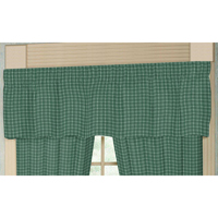 "Green Check Plaid With White Curtain Valance 54""W x 16""L"