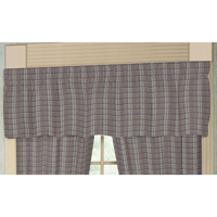 "Red Lines and Off White Plaid plaid Curtain Valance 54""W x 16""L"