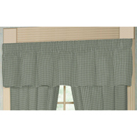 "Sage Green Gingham Curtain Valance 54""W x 16""L"