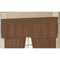 "Green and Warm Brown Plaid Curtain Valance 54""W x 16""L"