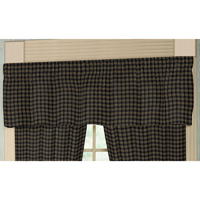 "Dark Navy Blue Plaid Curtain Valance 54""W x 16""L"