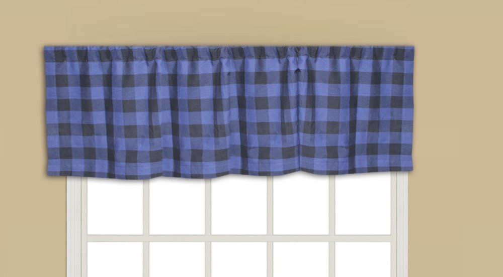 """Blue and Black ,fabric curtain val 54""""w x 16""""l"""