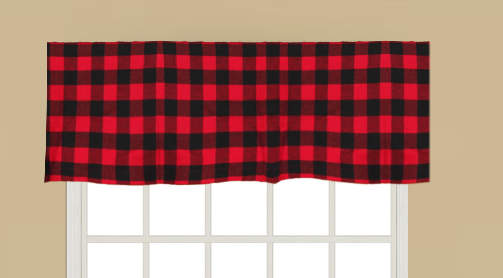 "Red and Black valance 54""w x 16""l"