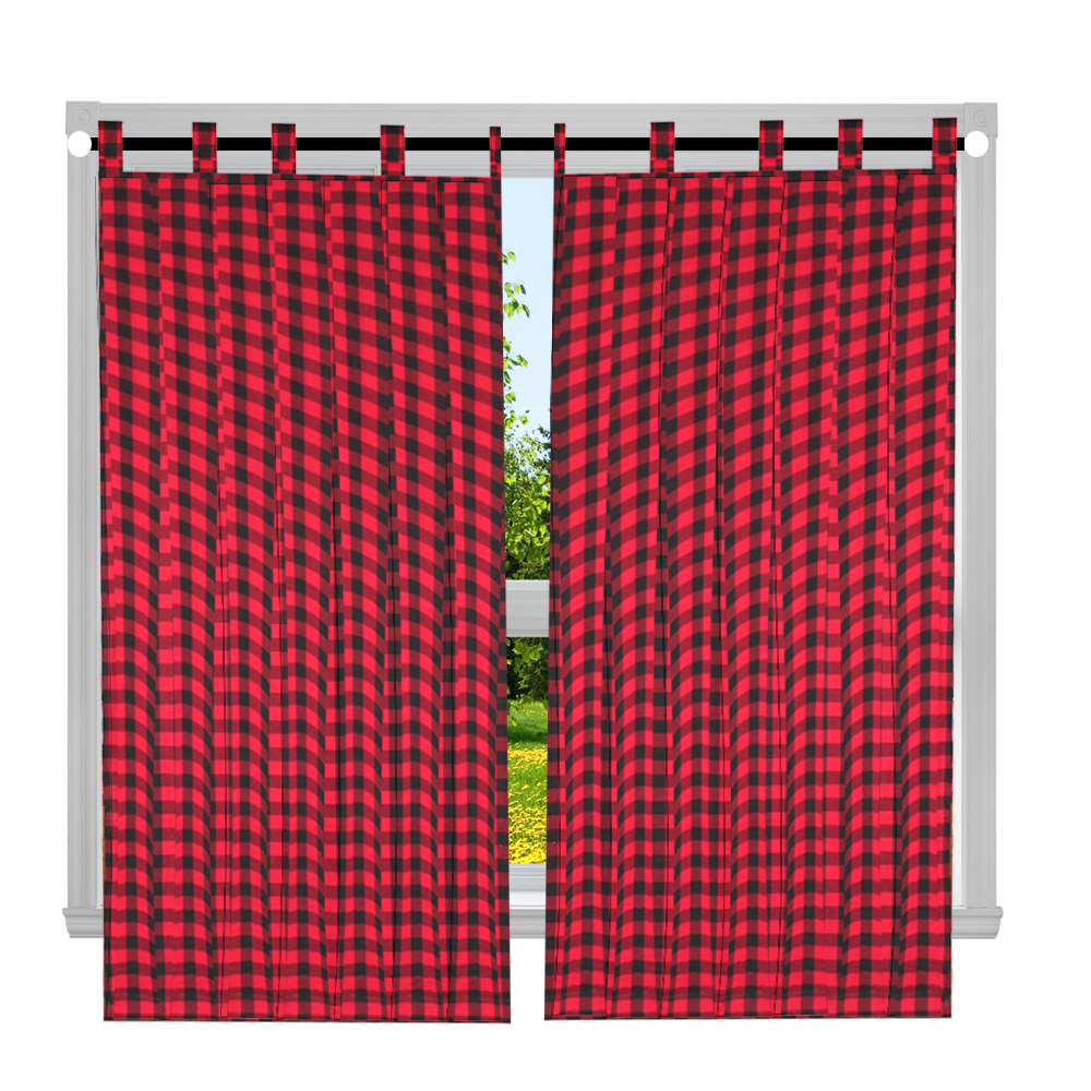 "Red and Black Twill Buffalo Check Window Curtain 40""W x 72""L"