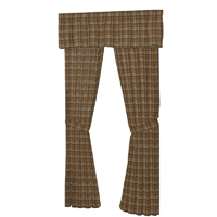 "Dark and Light Brown Plaid Window Curtain 40""W x 84""L"