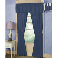 "Dark Spruce Blue Chambray Window Curtain 40""W x 84""L"