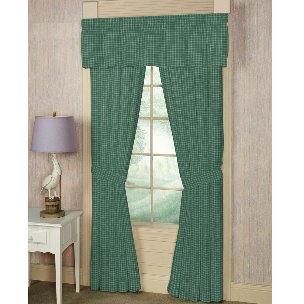 "Green Check Plaid With White Window Curtain 40""W x 84""L"