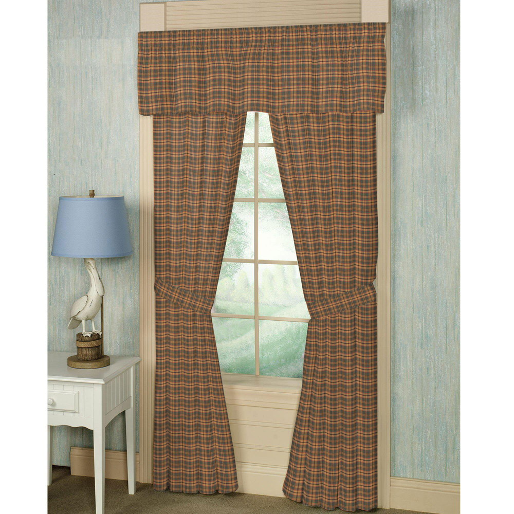 "Gold and Brown Plaid Window Curtain 40""W x 84""L"