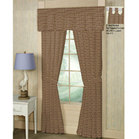 """Tan and Red Check Plaid Window Curtain 40""""W x 84""""L"""