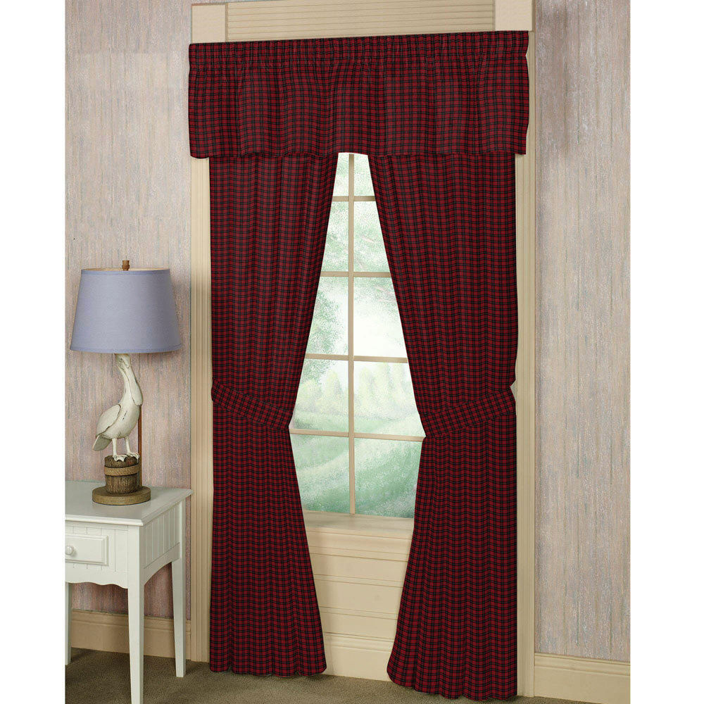 "Red and Black Plaid Window Curtain 40""W x 84""L"