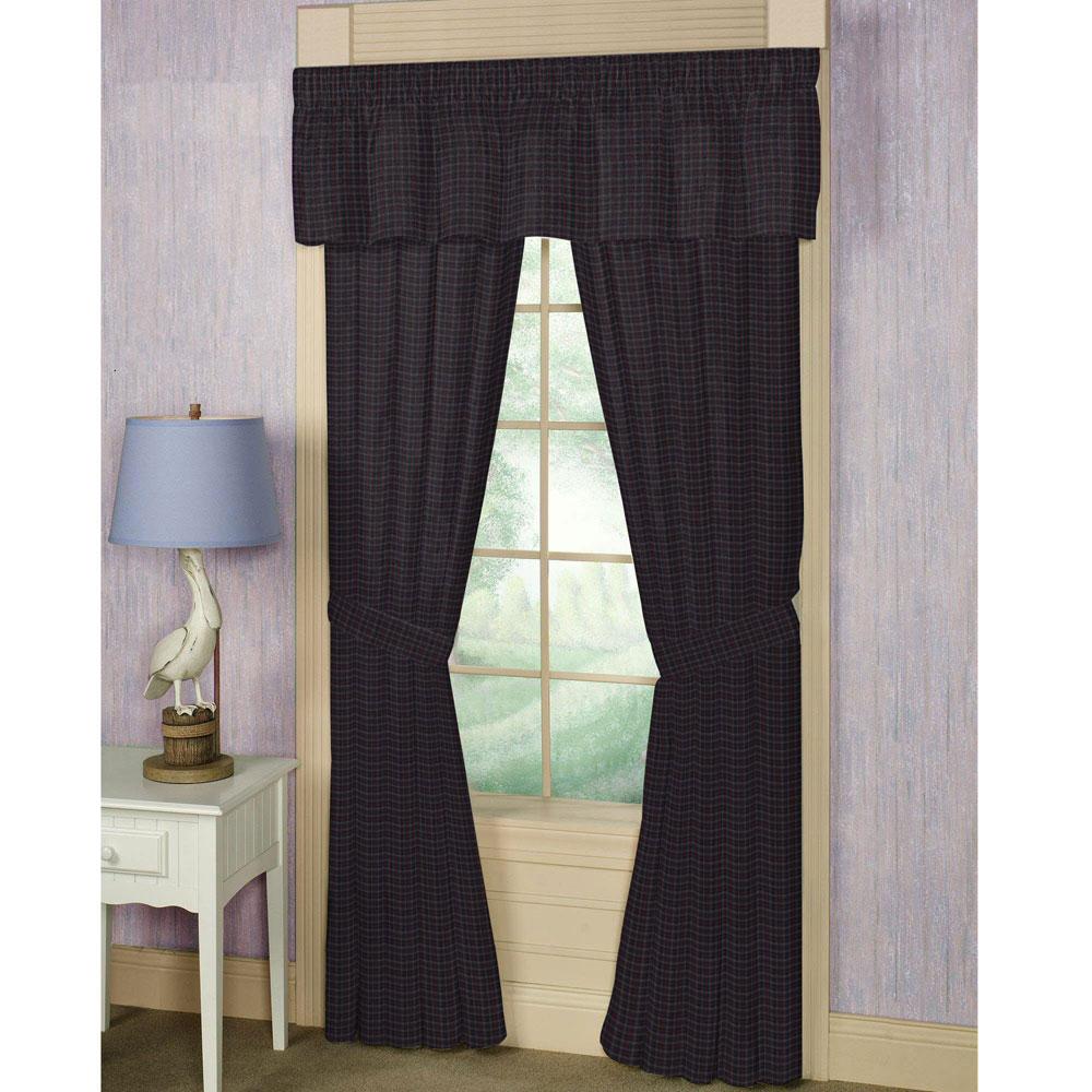 "Grey and Navy Blue Plaid Window Curtain 40""W x 84""L"
