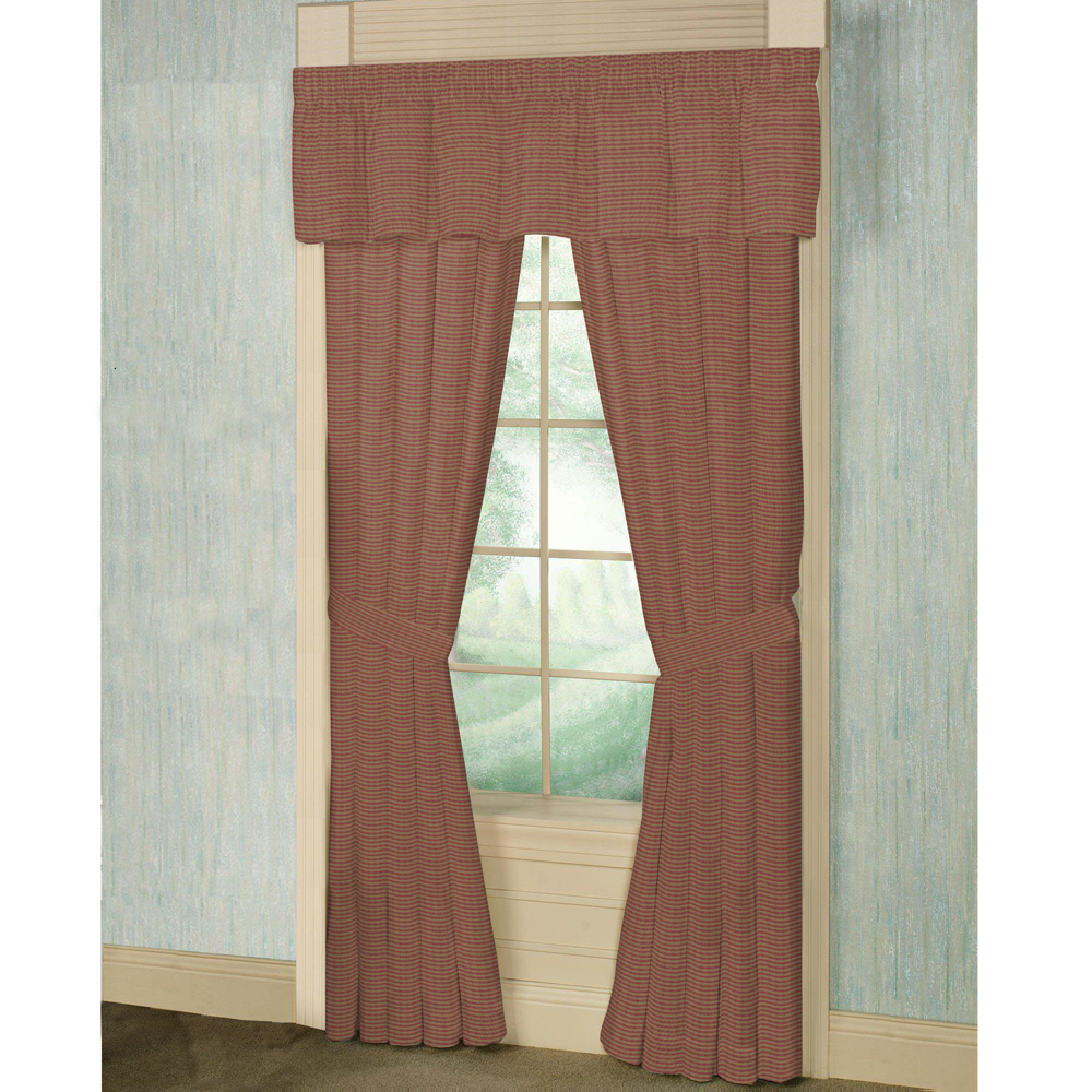"""Tea Dye and Red Candy Stripes Window Curtain 40""""W x 84""""L"""