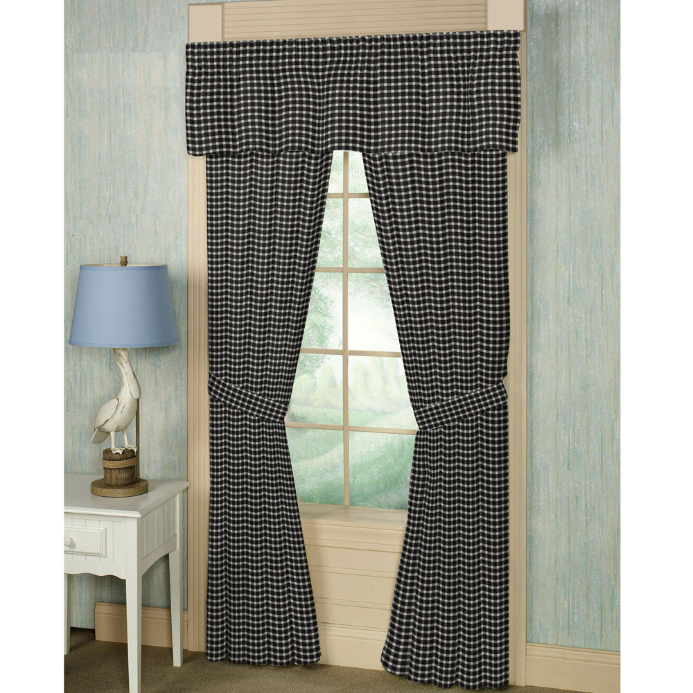 "Black and White Buffalo Check Window Curtain 40""W x 84""L"
