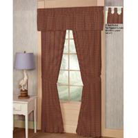 """Tan and Blue Red Plaid Window Curtain 40""""W x 84""""L"""