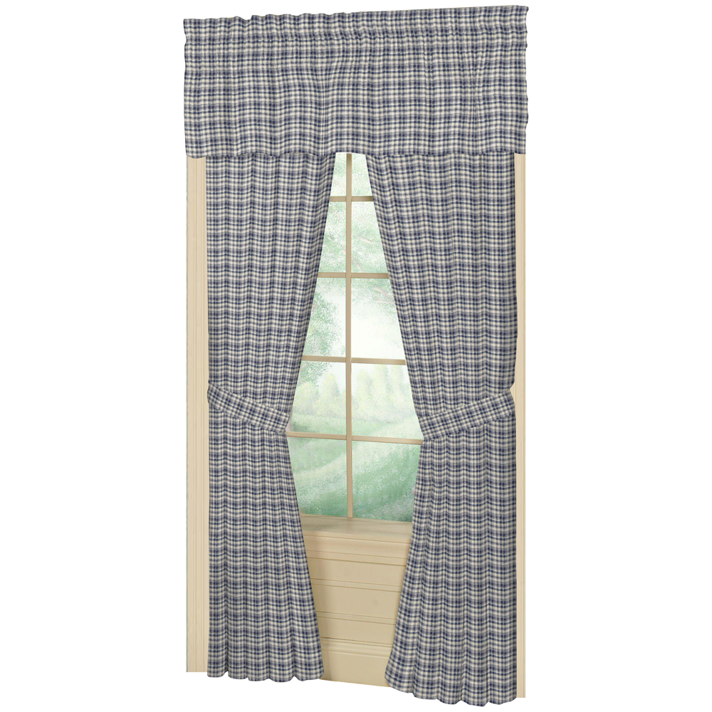 "Blue and White Madras Check Window Curtain 40""W x 84""L"