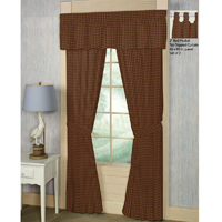 "Rustic Red and Tan Check Plaid Window Curtain 40""W x 84""L"