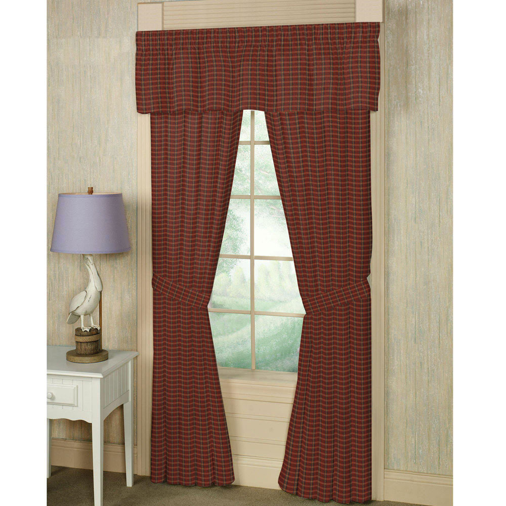 "Rustic Red Large Check Window Curtain 40""W x 63""L"
