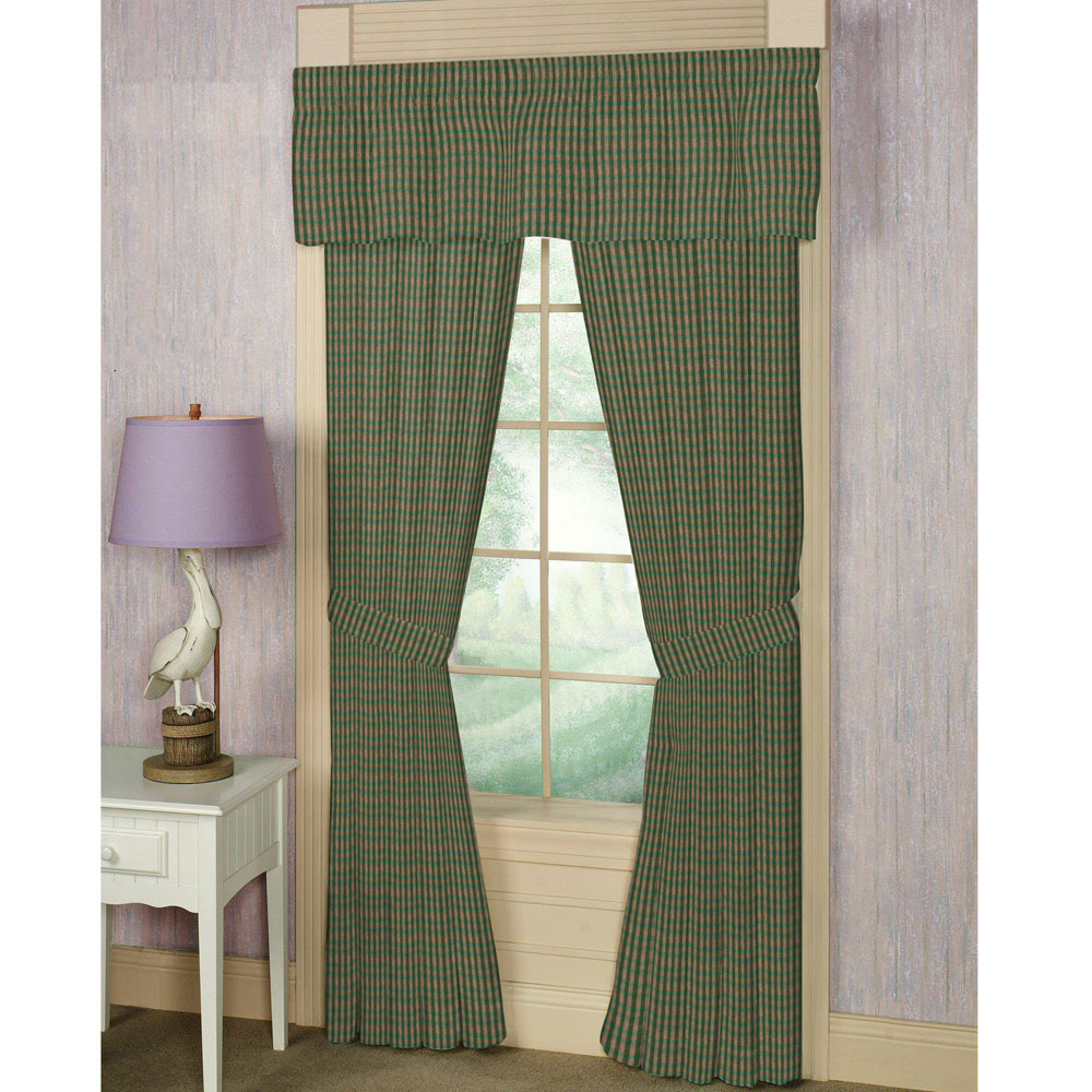 "dry moss green and tan check Window Curtain 40""W x 84""L"
