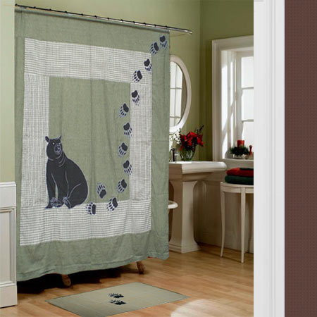 "Bear Country,cz curtain shower 72""w x 72""l"