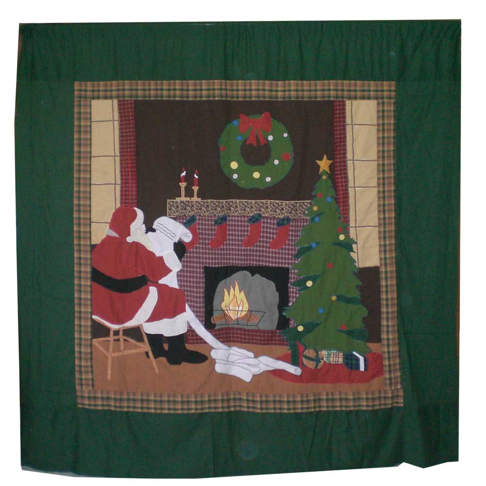 "Santa by the Fireside Shower Curtain 72""W x 72""L"