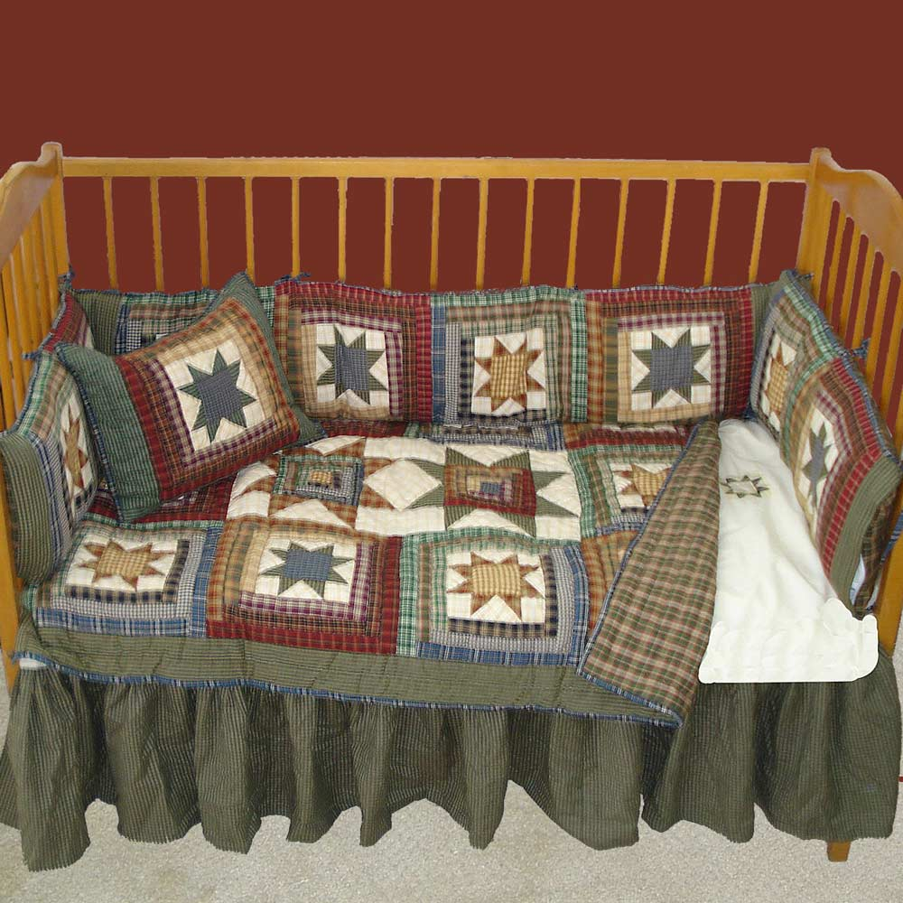 "Cottage Star Hunter Green and Tan Check (w140a) Crib Bed Skirt 28"" x 53""-Drop-13"""