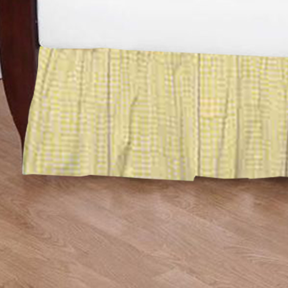 "Hey Diddle Diddle Straw Yellow Gingham (W141D) Crib Bed Skirt 28"" x 53""-Drop-13"""