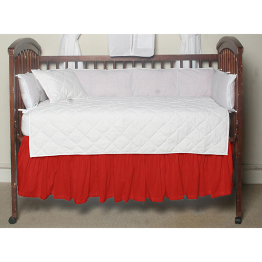 """Bright Red Solid Crib Bed Skirt 28"""" x 53""""-Drop-13"""""""