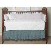 "Aqua Blue Plaid with Pink Overtone (w065f) Crib Bed Skirt 28"" x 53""-Drop-13"""