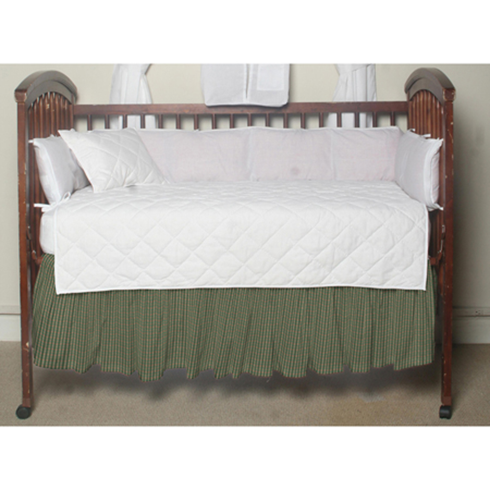 "Hunter Green and Tan Check Crib Bed Skirt 28"" x 53""-Drop-13"""