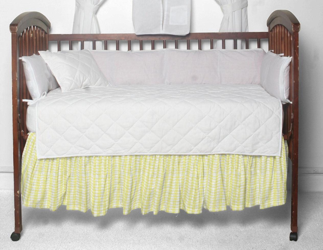"""Pale yellow & white gingham check Crib Bed Skirt 28"""" x 53""""-Drop-13"""""""