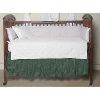 "Homespun Green Check (w187a) Crib Bed Skirt 28"" x 53""-Drop-13"""