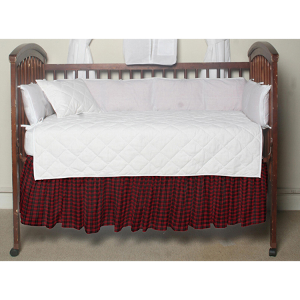 """Red and Black Plaid Crib Bed Skirt 28"""" x 53""""-Drop-13"""""""