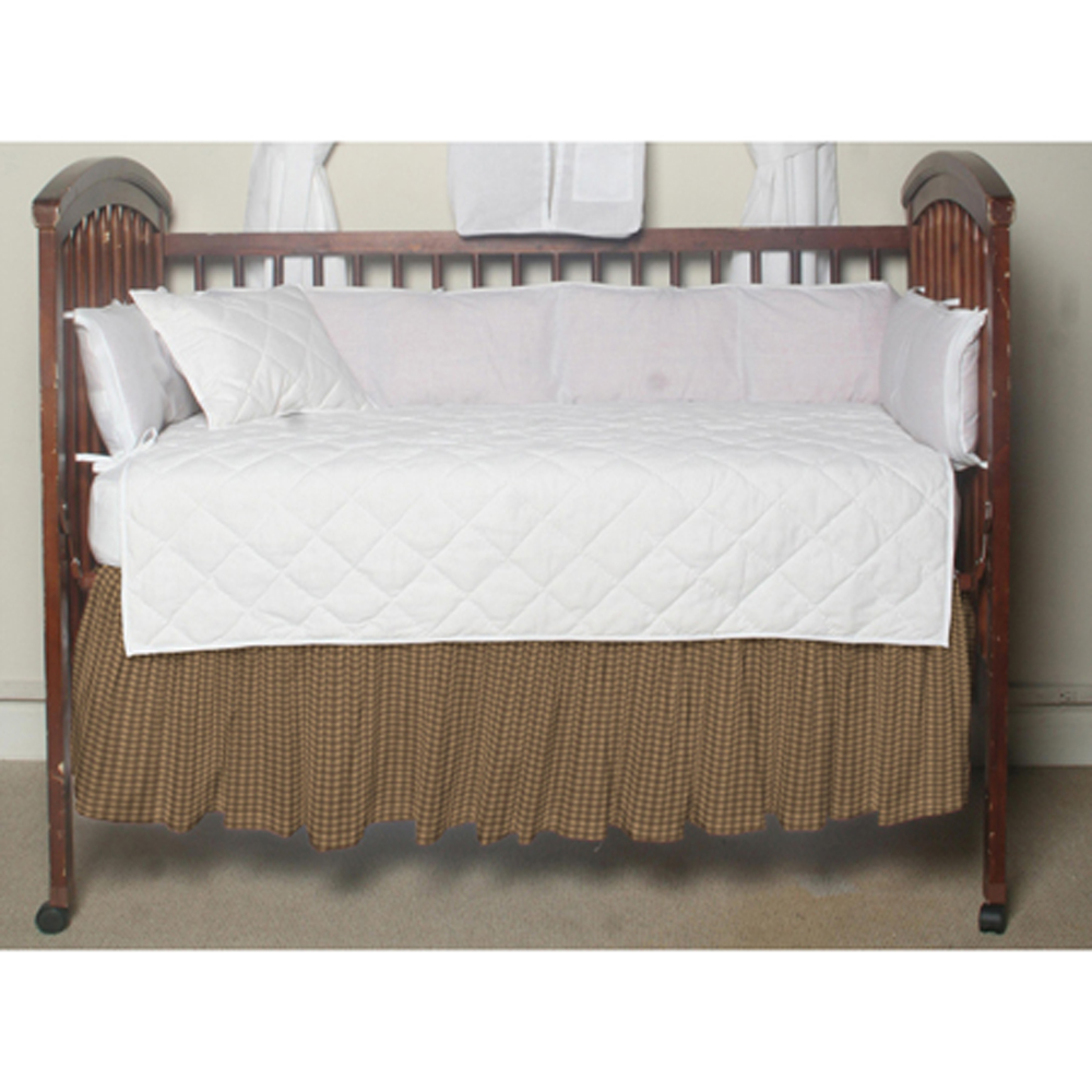 """Brown and Gold Gingham Crib Bed Skirt 28"""" x 53""""-Drop-13"""""""