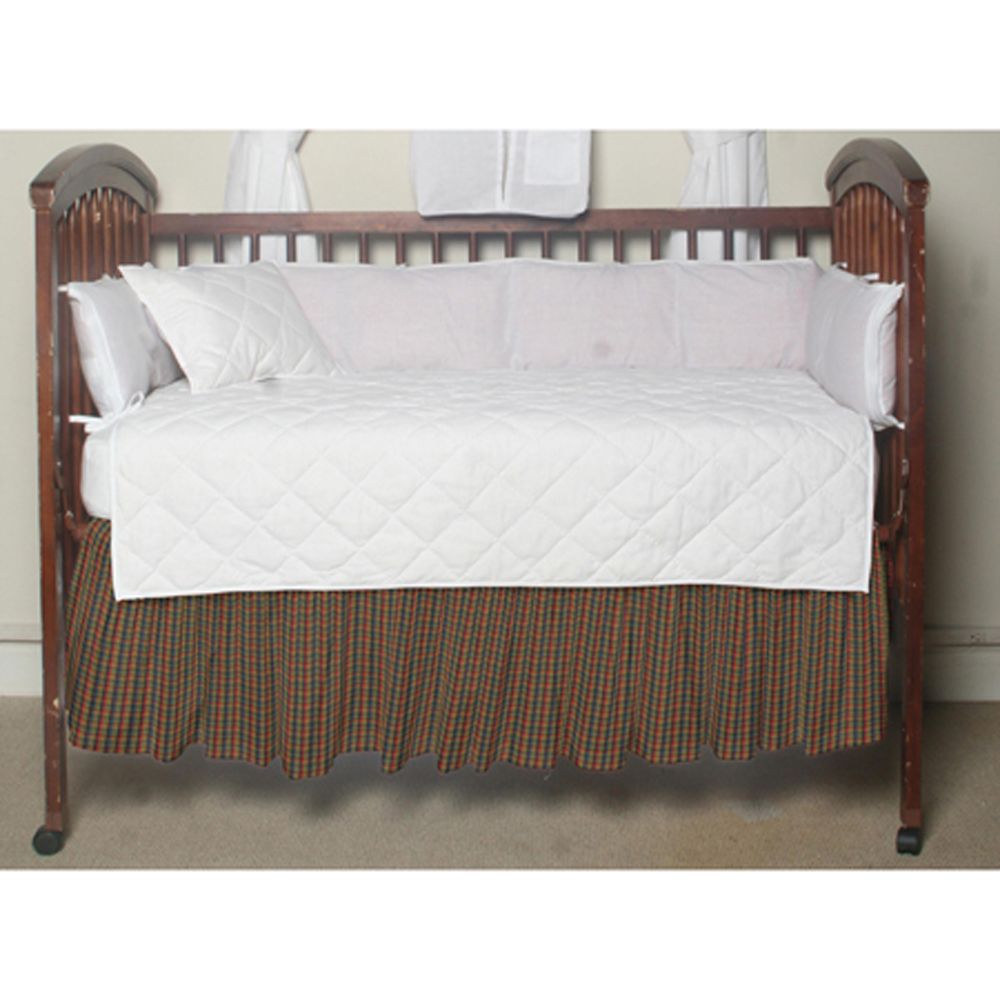 """Tan and Blue Red Plaid Crib Bed Skirt 28"""" x 53""""-Drop-13"""""""
