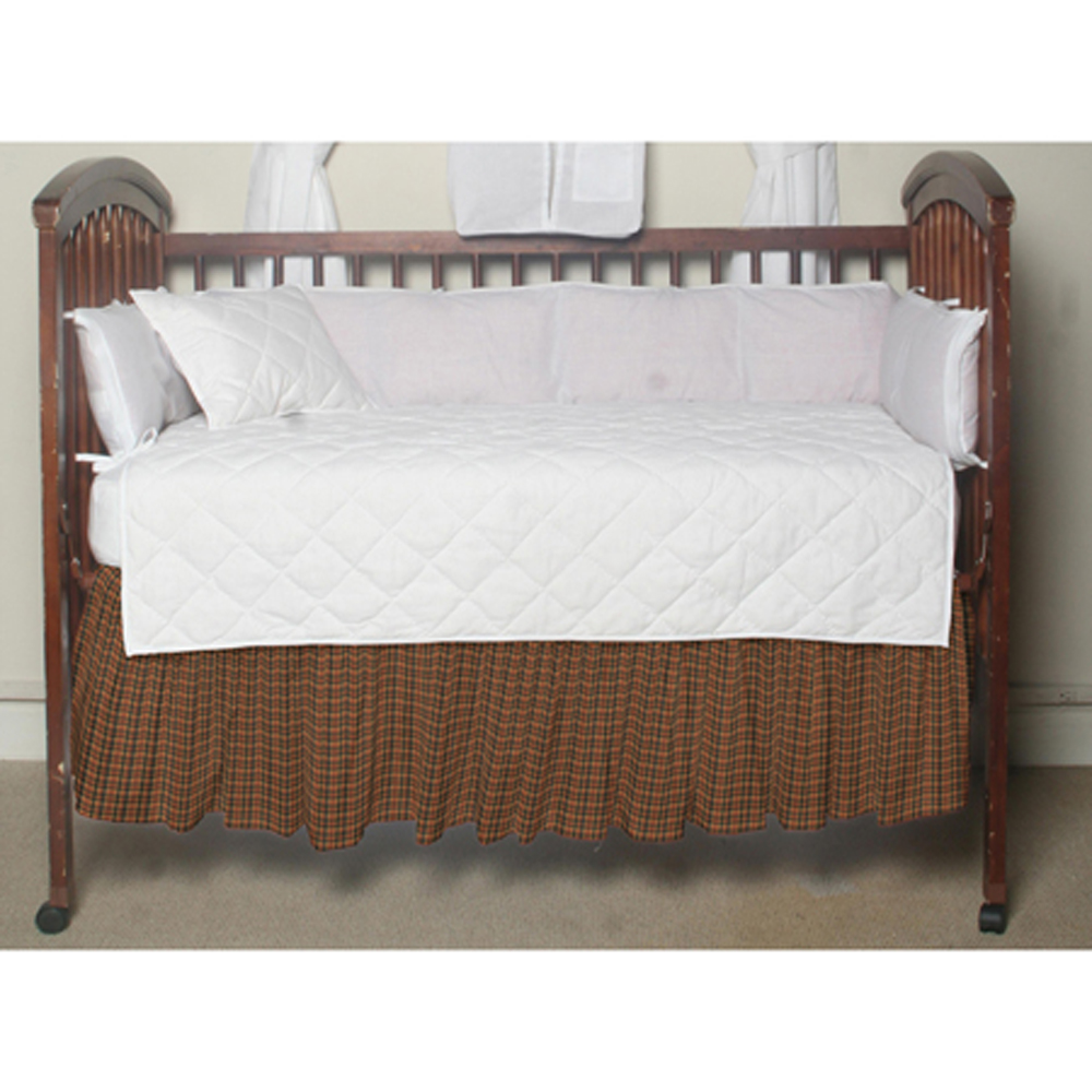 """Green and Warm Brown Plaid Crib Bed Skirt 28"""" x 53""""-Drop-13"""""""
