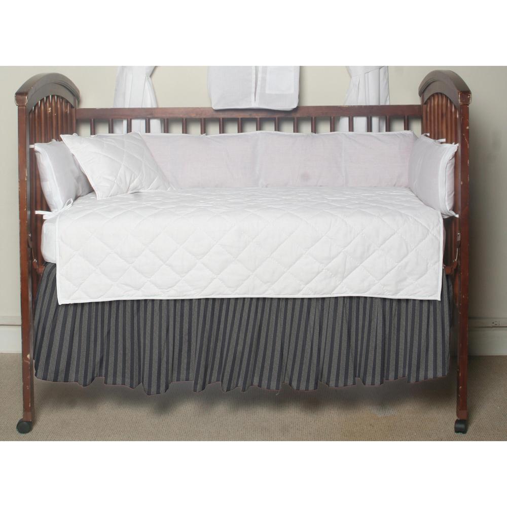 Blue &horizontal white stripes,fabric dust ruffle crib